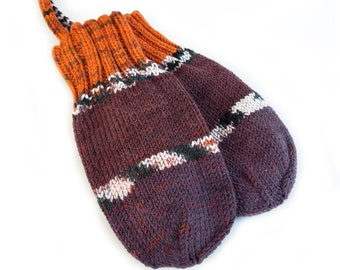Hand Knit Baby Mittens on String, 9 to 12 Months