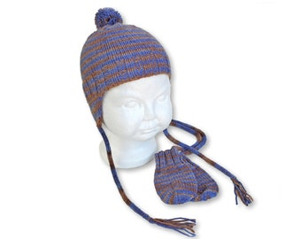 Ear Flap Hat and Mitten Set, Blue and Brown Stripe