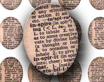 INSTANT DOWNLOAD Vintage Dictionary Digital Images Sheet Words Meanings Definitions Love Laugh Large Ovals 30 x 40 mm for Pendants (OL43)