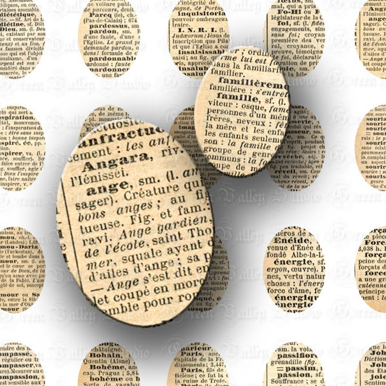 INSTANT DOWNLOAD Digital Images Sheet French Vintage Dictionary Words Paris  Antique Ovals 30x40 18x25 mm for Pendants Magnets (OL55,O50)