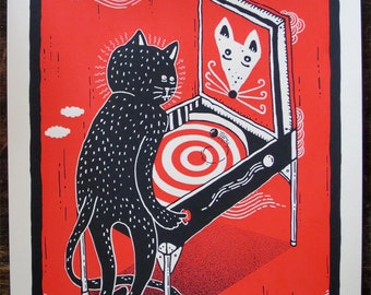 """Cat and Mouse Pinball - 9x12"""""""