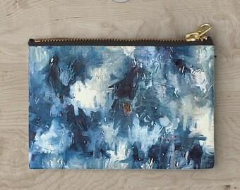 Blue Cosmetic Bag, Makeup Bag, Cosmetic Bag, Zipper Pouch, Toiletry Bag, Zipper Bag, Cosmetic Pouch, Blue Toiletry Bag, Makeup Pouch