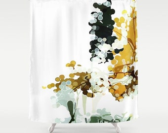 Mustard Yellow Charcoal Gray White Art Shower Curtain Neutral Bathroom Abstract Watercolor