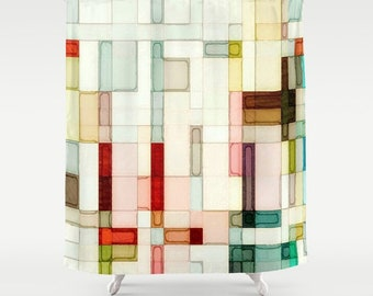 Abstract Watercolor Geometric Shower Curtain Pink Peach Yellow Red Green Brown Modern Bath Decor Art