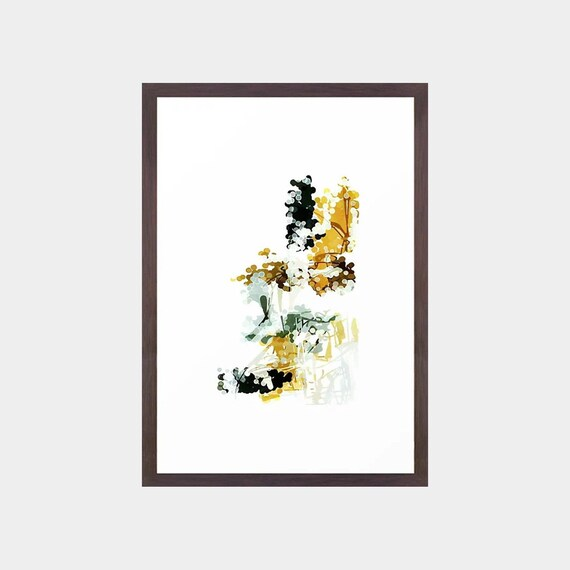 8d0c6d327c6 Mustard yellow   charcoal gray framed abstract art print