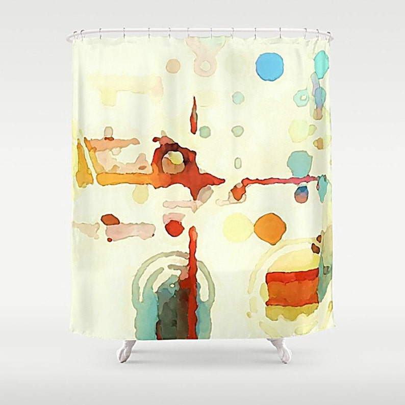 Abstract Watercolor Art Shower Curtain Minimalist Bathroom