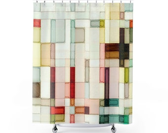 Geometric watercolor shower curtain, Abstract art bathroom decor, Pink, peach, yellow, red, green, brown modern bath