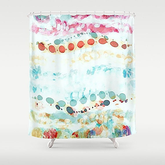 Pastel Watercolor Shower Curtain Dots Art Abstract