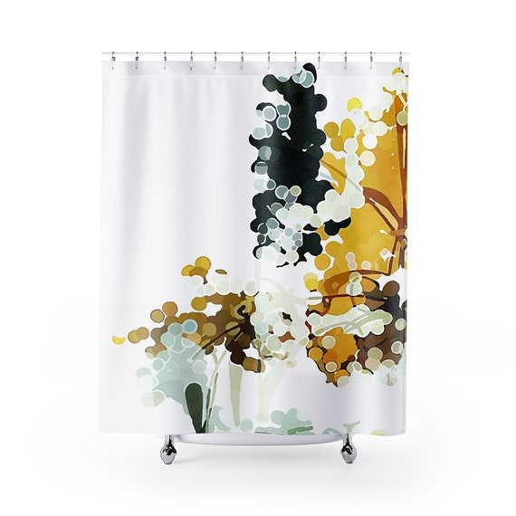 Mustard Yellow Charcoal Gray White, Yellow And White Shower Curtains