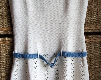 Vintage 70's Handmade Crocheted White Sleeveless Cutout Belted Dress w/ Sparkly Blue Trim