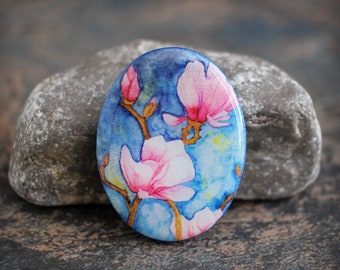 Polymer clay and resin Oval Cabochon. Transferred image graphic beads. Bead embroidery cabs. Lightweight. Colorful. Made to Order.