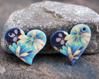Polymer clay handmade earring components. Pair.    Heart beads. Transferred image, light weight clay charms. Colorful. Made to Order.