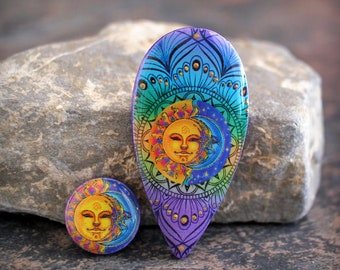 Sun and Moon Polymer clay & resin Manderley Cabochon Set. Transferred image graphic cabs. Bead embroidery Lightweight Colorful Made to Order
