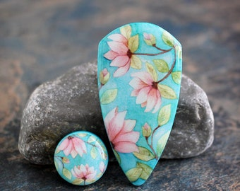 Polymer clay and resin Manderley Cabochon Set. Transferred image graphic beads. Bead embroidery cabs. Lightweight. Colorful. Made to Order