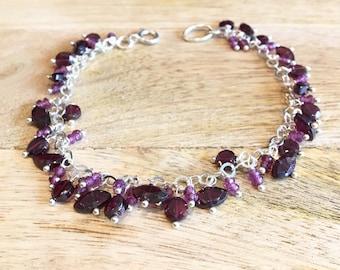 Garnet & Silver Chain Bracelet