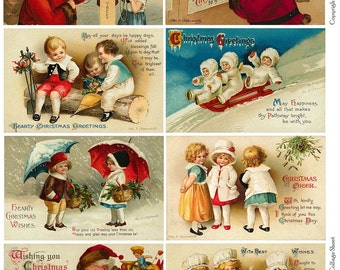 CHILDRENS WISHES - Vintage CHRISTMAS Collage Sheet - Instant Download