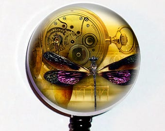 Steampunk Dragonfly Clocks Badge Id Holder Retractable Reel Bottle cap