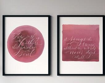 Gallery Wall Set: Poetry art, lettering print, watercolor, feminine art, pink