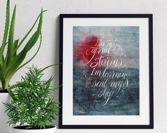 Art Print: Learning to Sail (Louisa May Alcott). Calligraphy, hand lettered watercolor quote, ocean art