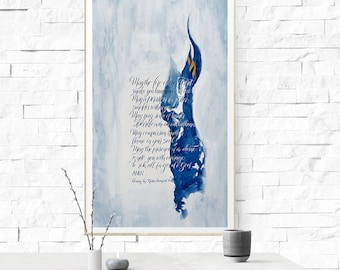 """Lettering Print, Abstract watercolor, """"The Fire of the Spirit"""", Lettering art, prayer quotes, Multiple sizes available."""