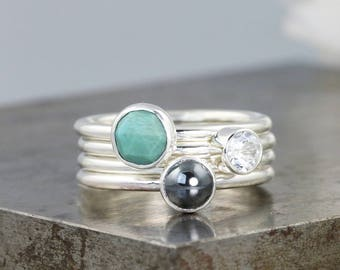 Earth Mineral Stacking Ring Set - Turquoise/Hematite/Topaz - Sterling Silver Stack Rings with Natural Gemstones - Size 5.75 - READY TO SHIP