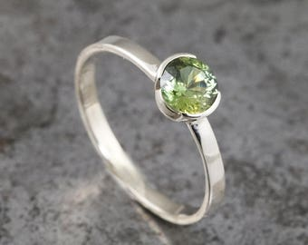Portuguese Cut Green Sapphire Ring - Thin Delicate 14k White Gold Engagement Ring with Partial Solitaire Bezel - Natural Round Sapphire
