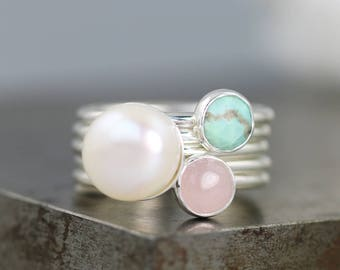 Romance Novel Stack Ring Set - Pearl/Turquoise/Rose Quartz- Sterling Silver Stacking Rings with Pastel Colors - Size 6.75 - READY TO SHIP