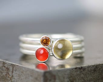 Autumn Leaves Stacking Ring Set - Citrine/Carnelian/Hessonite Garnet - Sterling Silver Small Gemstone Stack Rings - Size 5.5 - READY TO SHIP