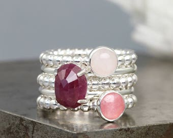 Party Favor Stacking Ring Set - Ruby/Rose Quartz/Rhodochrosite - Mixed Beaded, Round Sterling Silver Stack Rings - Size 5.5 - READY TO SHIP