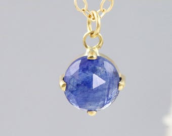 """14k Yellow Gold Pendant with 6mm Rose Cut Blue Sapphire - Faceted Round Gemstone Necklace in Prong Settings - 16 or 18"""" Chain -READY TO SHIP"""
