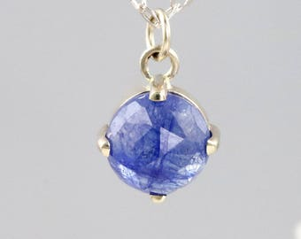 Small Rose Cut Blue Sapphire Pendant - 14k White Gold Prong Setting with Solid Gold Chain - 6mm Natural Gemstone Necklace - READY TO SHIP