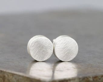 Everyday Sterling Silver Stud Earrings - Choose Brushed or Polished Finish - Round Thick Post Studs - Modern, Simple, Minimal -READY TO SHIP
