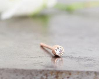 Single Tiniest White Gold Diamond Stud Earring - One Unisex Bezel Set Tiny Diamond Everyday Stud