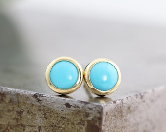 5mm Smooth Robins Egg Blue Turquoise Stud Earrings - Small Natural Round Gemstone Cabochon Stud in 14k Yellow Gold Bezels - READY TO SHIP