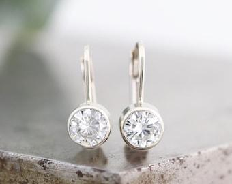 14k White Gold Lever Back Clip Earrings with Bezel Set 5mm White Moissanite - White Diamond Alternative Gemstones - Ready to Ship