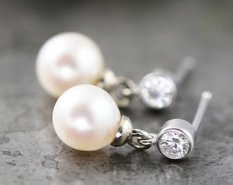 14k White Gold Moissanite and Pearl Earrings - Everyday Fancy - Small Drop Dangle Post Earrings with Vintage Freshwater Pearl -READY TO SHIP
