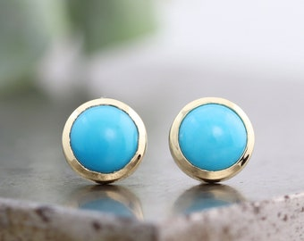 6mm Smooth Robins Egg Blue Turquoise Stud Earrings - Small Natural Round Gemstone Cabochon Stud in 14k Yellow Gold Bezels - Made to Order