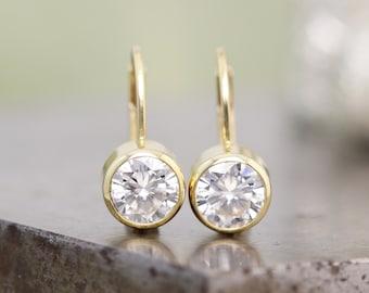 14k Yellow Gold Lever Back Clip Earrings with Bezel Set Large 6mm White Moissanite - White Diamond Alternative Gemstones - Ready to Ship