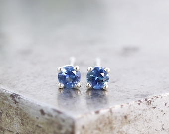 14k White Gold Prong Setting 3mm Medium Blue Montana Sapphire Stud Earrings - Recycled White Gold Studs - Unisex Gift - READY TO SHIP