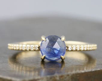 Rose Cut 6mm Blue Sapphire Ring with Moissanite Micro Pave Half Eternity Band - Diamond Alternative Engagement Ring - Size 7 - READY TO SHIP