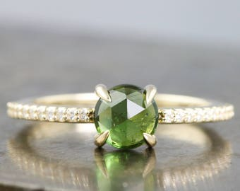 14k Yellow Gold Rose Cut Green Tourmaline Ring with Micro Pave Moissanite or Diamond Half Eternity Band - Round 6mm Gemstone - Made to Order
