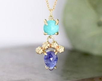 """Turquoise and Sapphire Pendant with Natural Flower Bud Detail - Solid 14k Yellow Gold Necklace on Adjustable 16"""" - 18"""" Chain - Ready to Ship"""