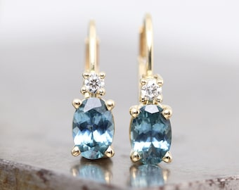 14k Yellow Gold Earrings, Oval Teal Blue Montana Sapphire, White Diamond Accent - Secure Minimalist Clip Lever Back Earring - Ready to Ship