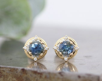 14k Yellow Gold Blue Montana Sapphire Stud Earrings with White Diamond Accents - Natural 4mm Teal Sapphire in Beaded Earrings -READY TO SHIP