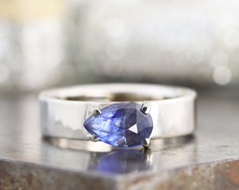 Limited Edition Hammered 14k White Gold Rose Cut Pear Shaped Blue Sapphire Ring - Wide Modern Band - Alternative Engagement - Made to Order