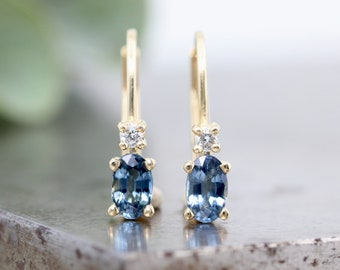 14k Yellow Gold Earrings with Medium Blue Oval Montana Sapphire and Diamond - Secure Minimalist Lever Back Clip Earrings - Ready to Ship