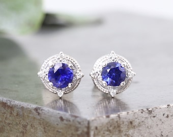 14k White Gold Vivid Blue Sapphire Stud Earrings with White Diamond Accents - Natural 4mm Gem in Beaded Halo Style Earrings - READY TO SHIP