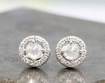 14k White Gold Earrings with Diamond Halo and Rose Cut Light Grey Center Diamonds - Small Diamond Luxury Gift Studs for Her - READY TO SHIP