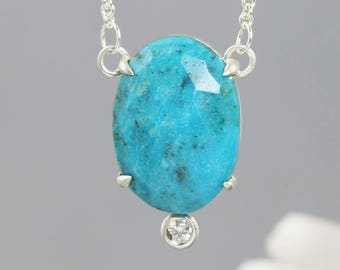 Sterling Silver Turquoise, Moissanite Pendant - Large Oval Rose Cut Gemstone Necklace with Small Diamond Alternative Accent - READY TO SHIP