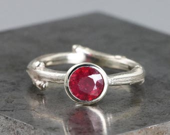 6mm Round Bezel Set Ruby Twig Ring - 14k White Gold Branch - Natural Red Gemstone Ring - Alternative Engagement - Size 6.5 - READY TO SHIP